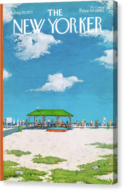 Picnic Canvas Print - New Yorker August 20th, 1973 by Albert Hubbell