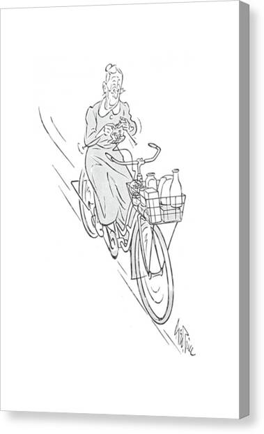 Bicycle Canvas Print - New Yorker August 22nd, 1942 by George Price