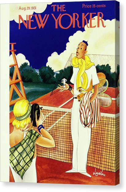 Tennis Players Canvas Print - New Yorker August 29 1931 by Constantin Alajalov