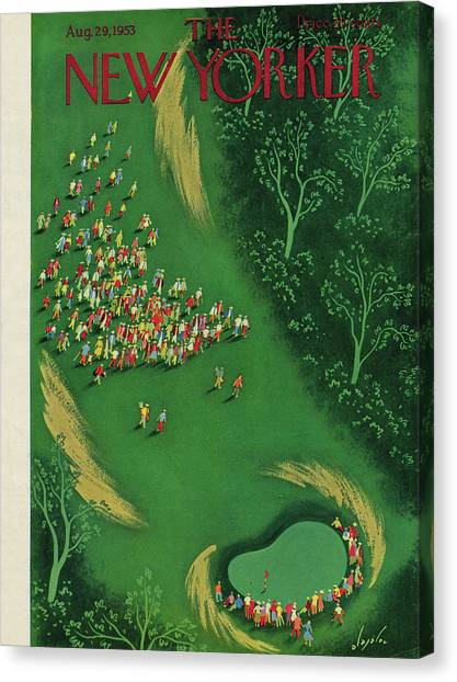 Hole In One Canvas Print - New Yorker August 29th, 1953 by Constantin Alajalov