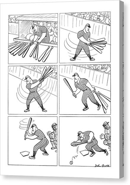 Baseball Players Canvas Print - New Yorker August 30th, 1941 by John Groth