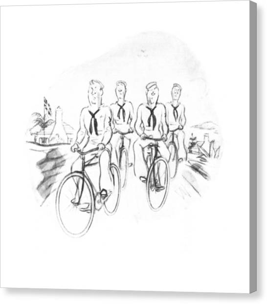 Bicycle Canvas Print - New Yorker August 9th, 1941 by Leonard Dove