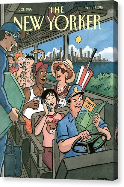 New Yorker Characters Board A City Bus Canvas Print