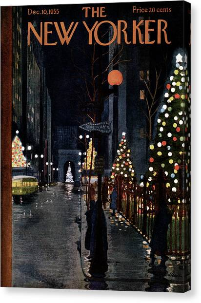 Wreath Canvas Print - New Yorker December 10th, 1955 by Alain