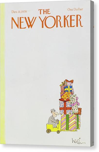 Forklifts Canvas Print - New Yorker December 11th 1978 by Arnie Levin