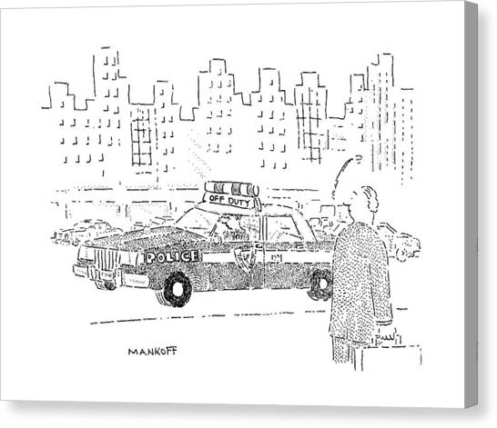 Police Cars Canvas Print - New Yorker December 16th, 1991 by Robert Mankoff
