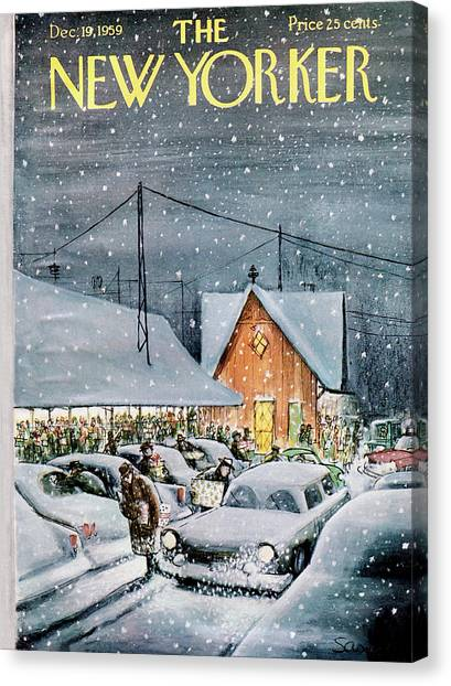 December Canvas Print - New Yorker December 19th, 1959 by Charles Saxon