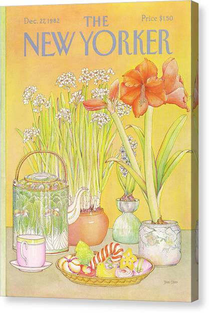 Amaryllis Canvas Print - New Yorker December 27th, 1982 by Jenni Oliver