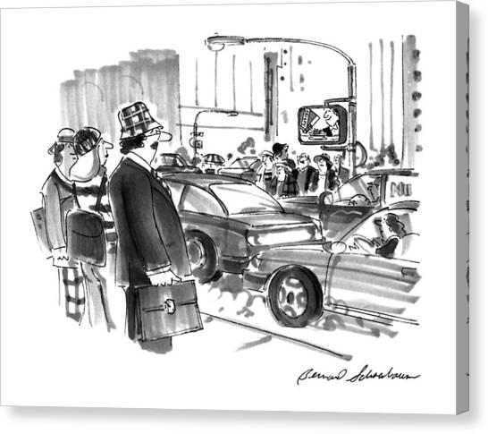 Tv Commercials Canvas Print - New Yorker December 2nd, 1996 by Bernard Schoenbaum