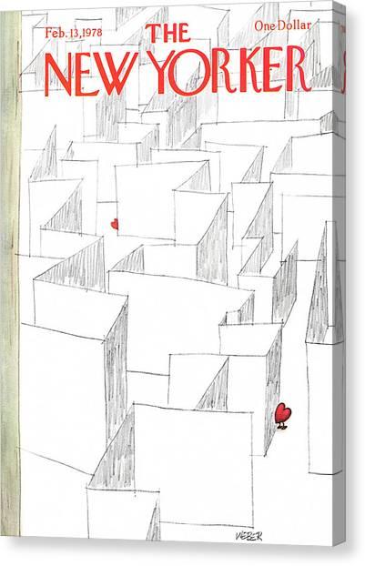 Maze Canvas Print - New Yorker February 13th, 1978 by Robert Weber