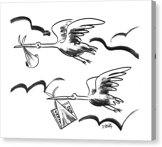 Storks Canvas Print - New Yorker February 15th, 1993 by Donald Reilly