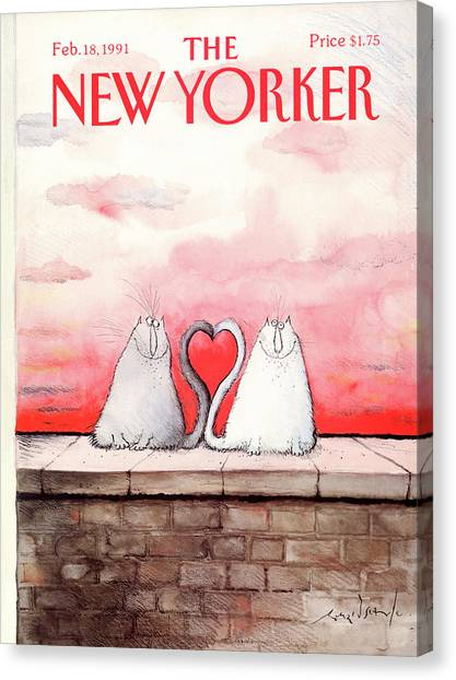 Heart Canvas Print - New Yorker February 18th, 1991 by Ronald Searle