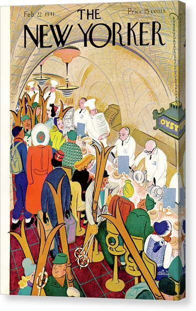 Diners Canvas Print - New Yorker February 22nd, 1941 by Alain