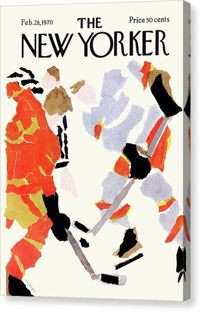 Hockey Players Canvas Print - New Yorker February 28th, 1970 by James Stevenson