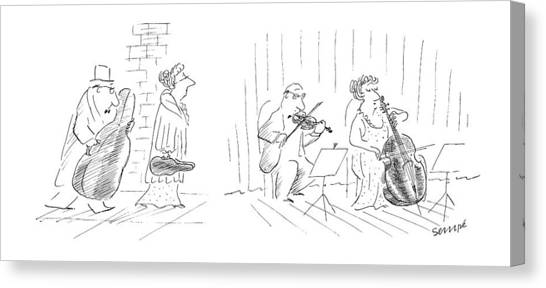 Cellos Canvas Print - New Yorker January 12th, 1987 by Jean-Jacques Sempe