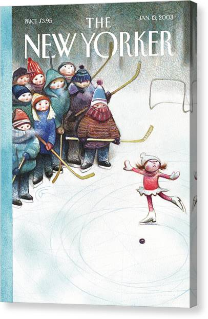 Hockey Players Canvas Print - New Yorker January 13th, 2003 by Carter Goodrich