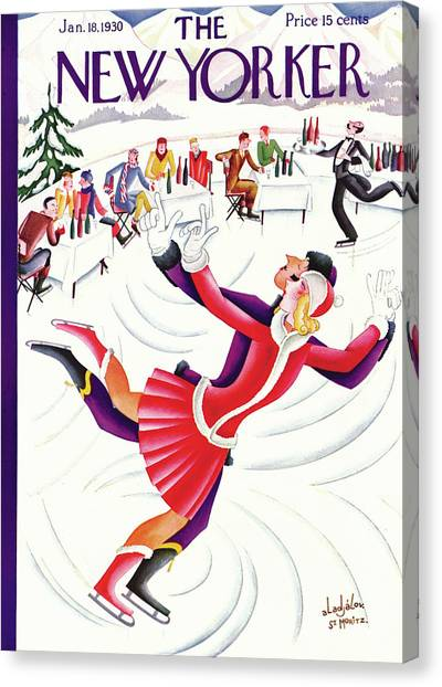 Figure Skating Canvas Print - New Yorker January 18th, 1930 by Constantin Alajalov