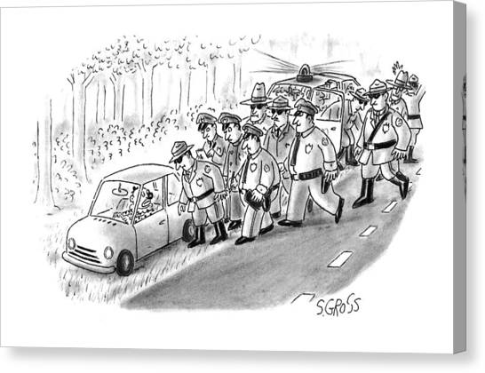Police Cars Canvas Print - New Yorker January 18th, 1993 by Sam Gross
