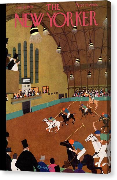 Polo Canvas Print - New Yorker January 20th, 1934 by Adolph K. Kronengold