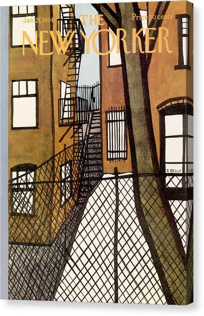 Chain Link Fence Canvas Print - New Yorker January 21st, 1974 by Donald Reilly