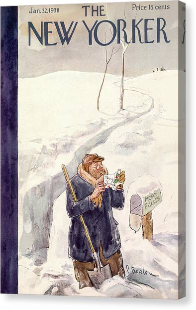 Shovels Canvas Print - New Yorker January 22nd, 1938 by Perry Barlow