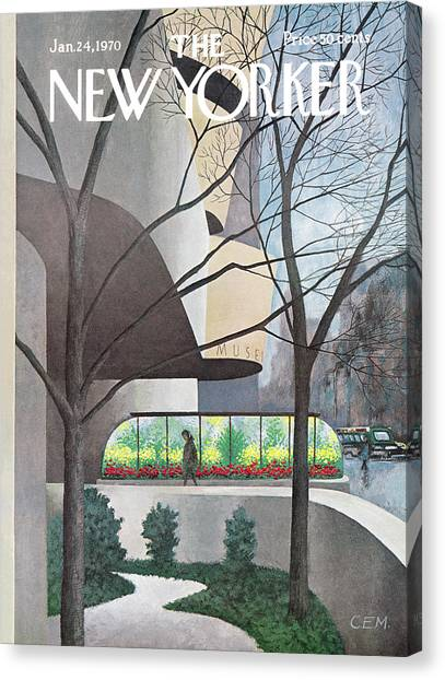 January Canvas Print - New Yorker January 24th, 1970 by Charles E Martin