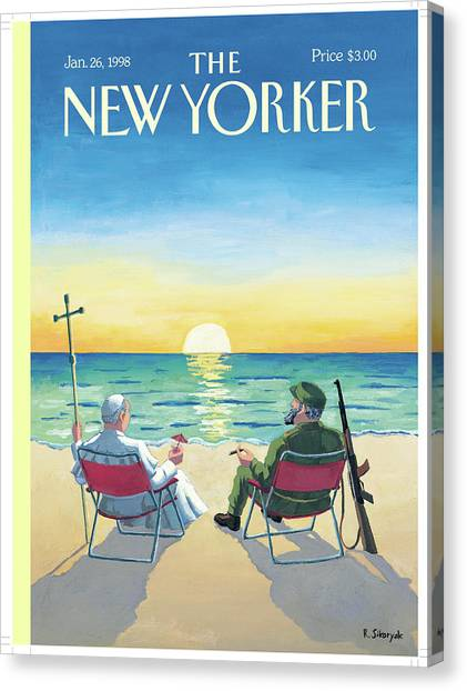 Sunrise Horizon Canvas Print - New Yorker January 26th, 1998 by R Sikoryak