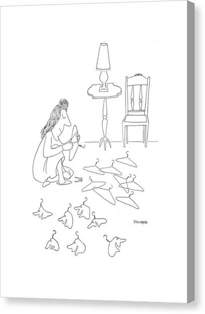 Coat Hanger Canvas Print - New Yorker January 2nd, 1943 by Saul Steinberg