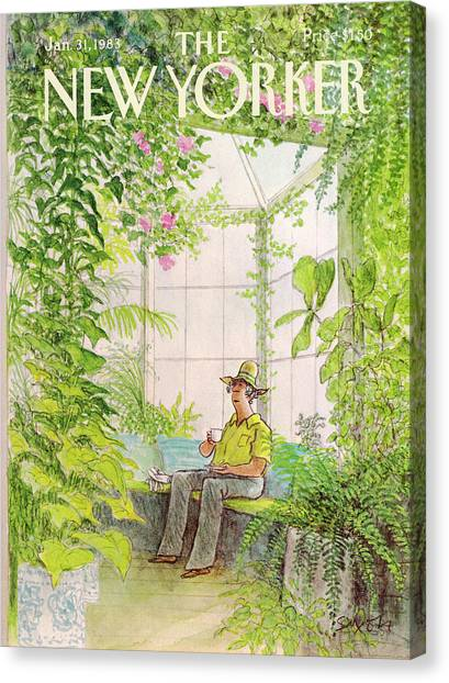 Greenhouse Canvas Print - New Yorker January 31st, 1983 by Charles Saxon