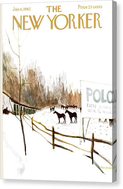 Polo Canvas Print - New Yorker January 6th, 1962 by James Stevenson