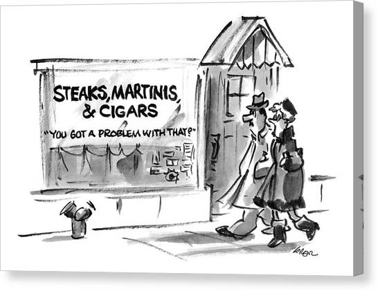 Steak Canvas Print - New Yorker January 6th, 1997 by Lee Lorenz