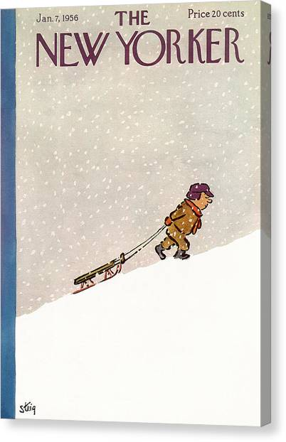 Snow Bank Canvas Print - New Yorker January 7th, 1956 by William Steig