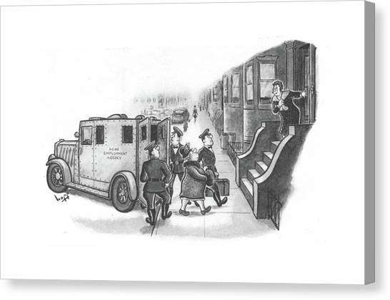 Nypd Canvas Print - New Yorker January 8th, 1944 by Sydney Hoff