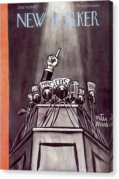Speakers Canvas Print - New Yorker July 10th, 1948 by Peter Arno