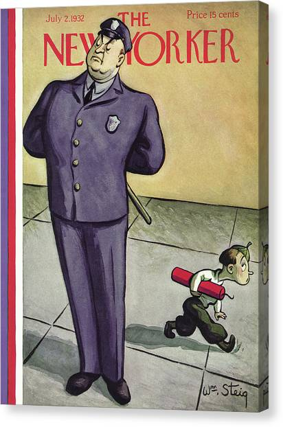 Police Officer Canvas Print - New Yorker July 2nd, 1932 by William Steig