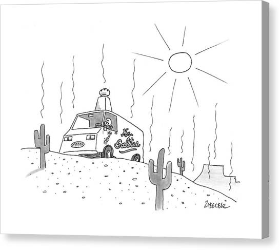 Truck Driver Canvas Print - New Yorker July 7th, 1997 by Jack Ziegler