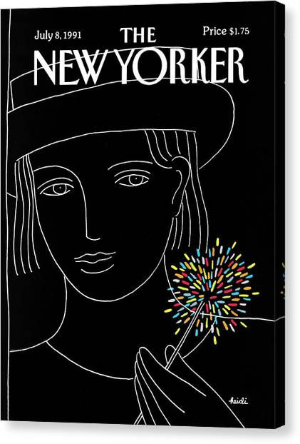 Sparklers Canvas Print - New Yorker July 8th, 1991 by Heidi Goennel