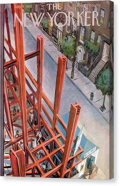 Manhattan Skyline Canvas Print - New Yorker July 9th, 1955 by Arthur Getz