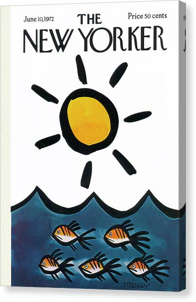 Fishing Poles Canvas Print - New Yorker June 10th, 1972 by Donald Reilly