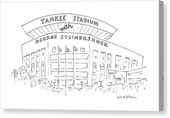 Yankee Stadium Canvas Print - New Yorker June 15th, 1987 by Michael Maslin