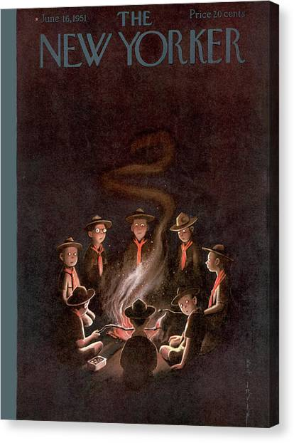 Boy Scouts Canvas Print - New Yorker June 16th, 1951 by Rea Irvin