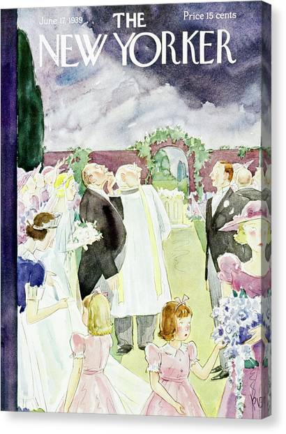 Wedding Bouquet Canvas Print - New Yorker June 17 1939 by Perry Barlow