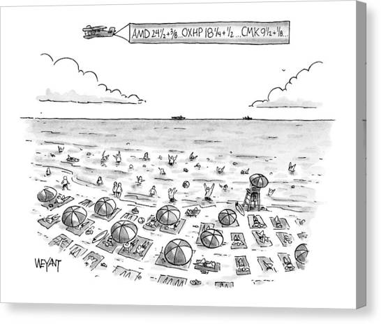 People On Beach Canvas Print - New Yorker June 21st, 1999 by Christopher Weyant