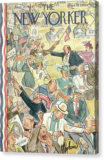 Republican Politicians Canvas Print - New Yorker June 24th, 1944 by Perry Barlow