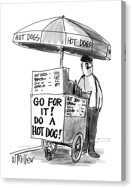 Hot Dogs Canvas Print - New Yorker June 2nd, 1986 by Warren Miller