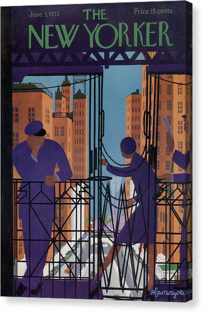 Train Conductor Canvas Print - New Yorker June 3rd, 1933 by Adolph K Kronengold