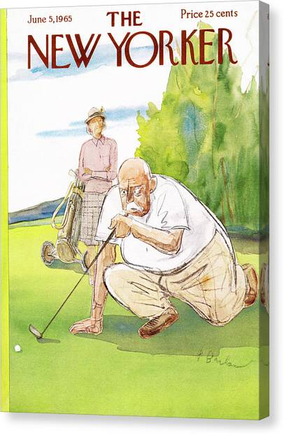 Hole In One Canvas Print - New Yorker June 5th, 1965 by Perry Barlow