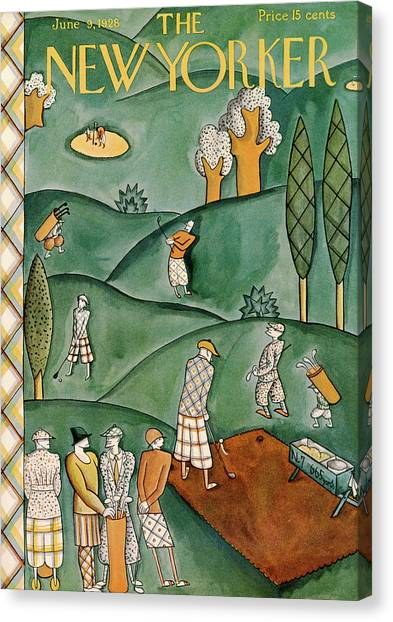 Hole In One Canvas Print - New Yorker June 9th, 1928 by Ilonka Karasz