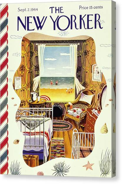 New Yorker Magazine Cover Of A Bedroom By The Sea Canvas Print