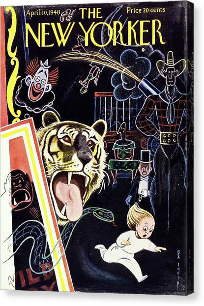 New Yorker Magazine Cover Of A Child Running Canvas Print